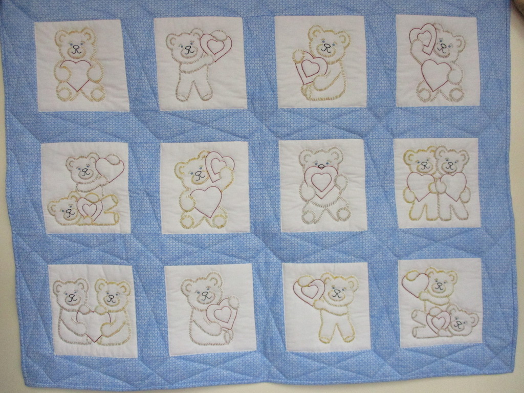 77, TEDDY BEARS, 38x48, Embroidered by Ada Rohrer, Donated and Quilted by Stumptown Mennonite Sewing Circle