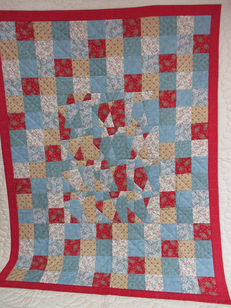 89, RANDOM STACK AND WHACK, 82x102, Quilted and Donated by Locust Grove Mennonite Church Ladies' Sewing Circle