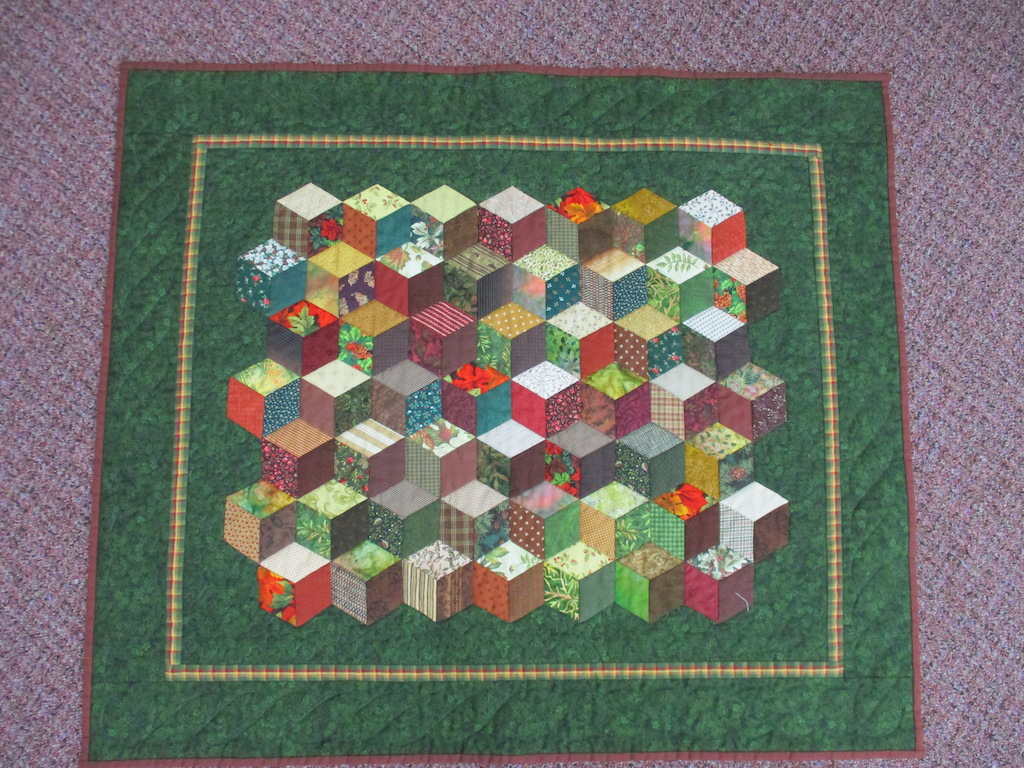 90, AUTUMN BLOCKS (machine quilted, signed and dated), 31x36, Pieced, Quilted and Donated by Kay Garman
