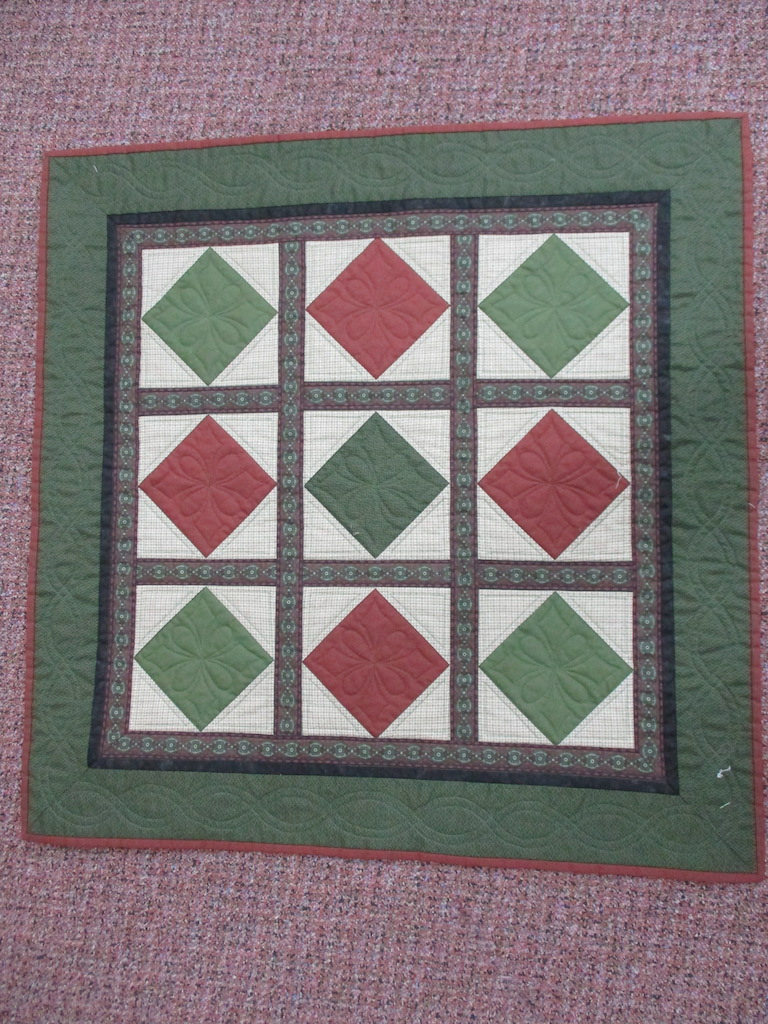 112, SQUARE IN A SQUARE (machine quilted, signed and dated), 31x31, Pieced, Donated and Quilted by Kay Gannon