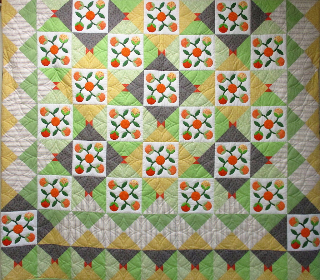168, ORANGE BOUQUET, 110x110, Pieced and Donated by Ellen Ressler, Quilted by MCC volunteers