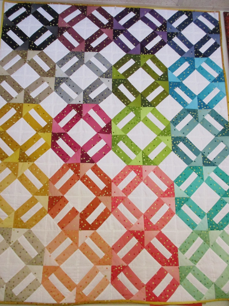 179, OMBRE WEAVE (signed and dated), 46x57, Pieced by Joan Norcross, Quilted by Susie DeVos