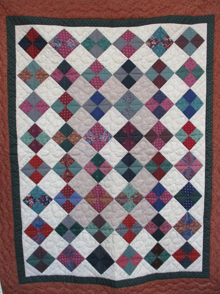 214, FOUR PATCH ON POINT, 44x54, Quilted and Donated by Locust Grove Mennonite Church Ladies' Sewing Circle