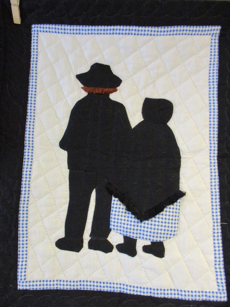 236, CORA AND JOHN (signed and dated), 16x20, Pieced and Appliqued by Monna Gayman, Quilted by Marie Eby