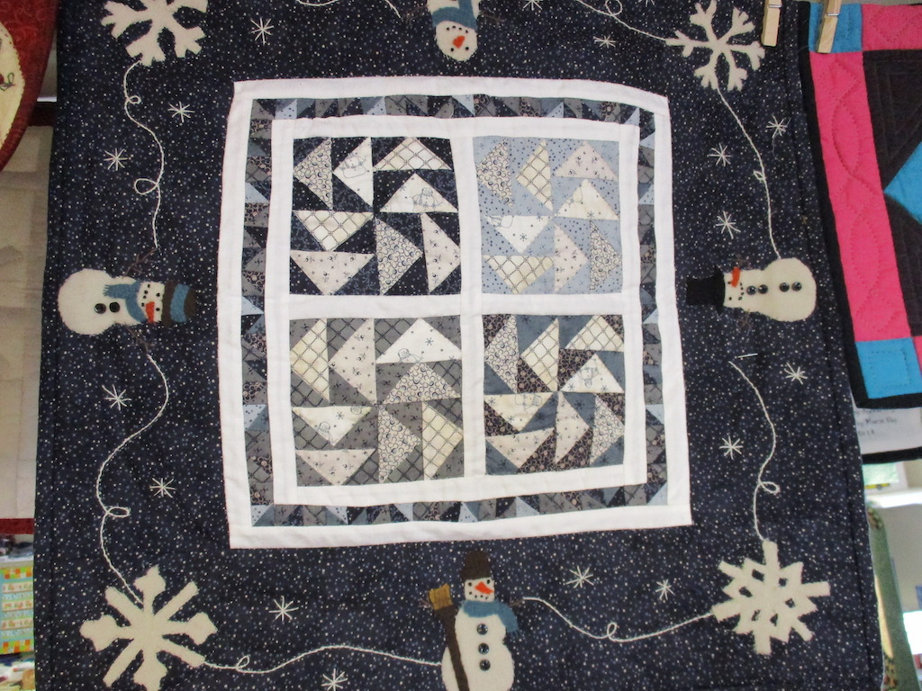 237, WINTER-IFIC (signed and dated), 20x20, Pieced and Appliqued by Dorothy Crider, Quilted by Fannie Frey