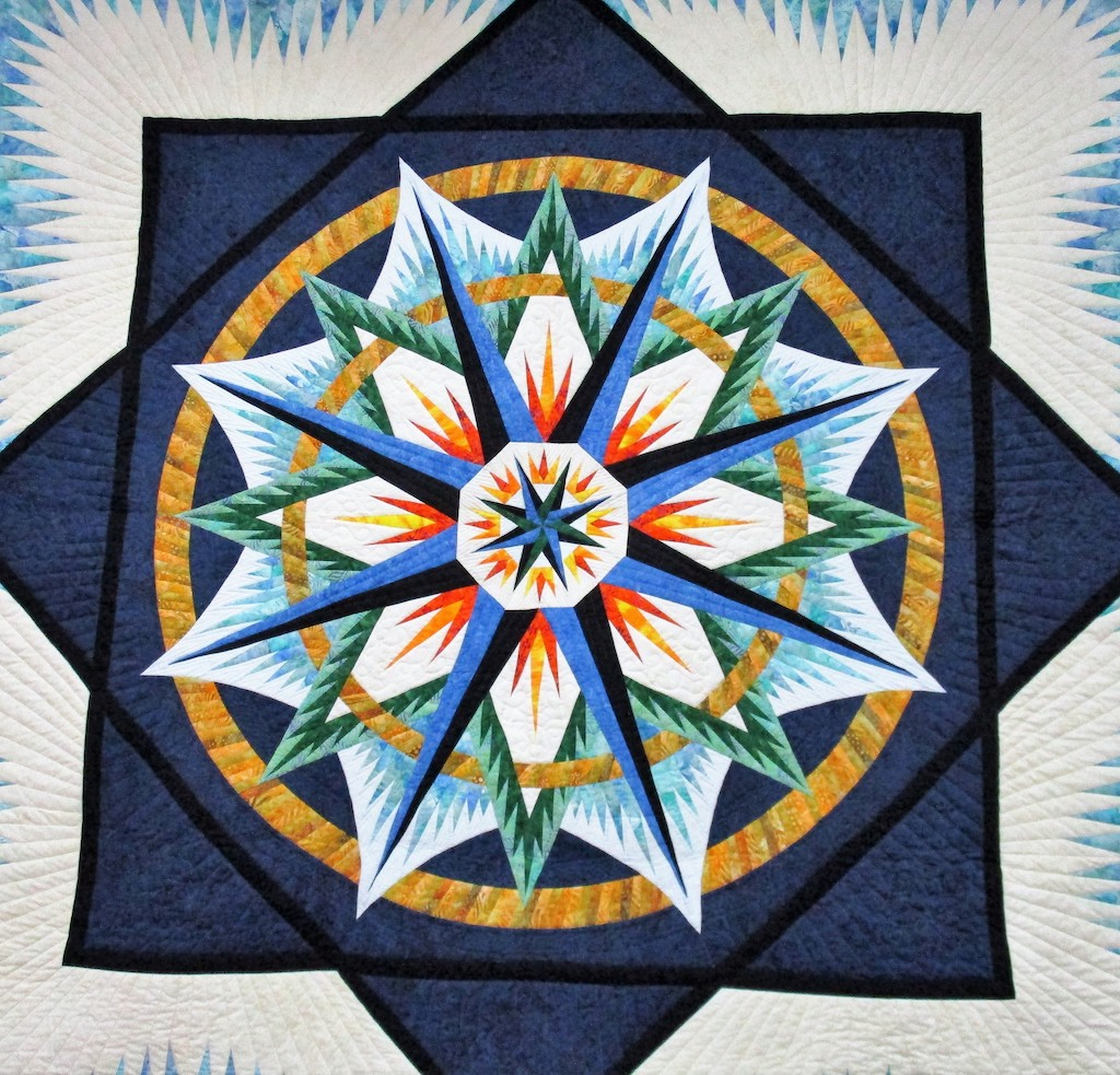 251, MARINER'S COMPASS (signed and dated), 93x95, Pieced and Quilted by Tina Minder