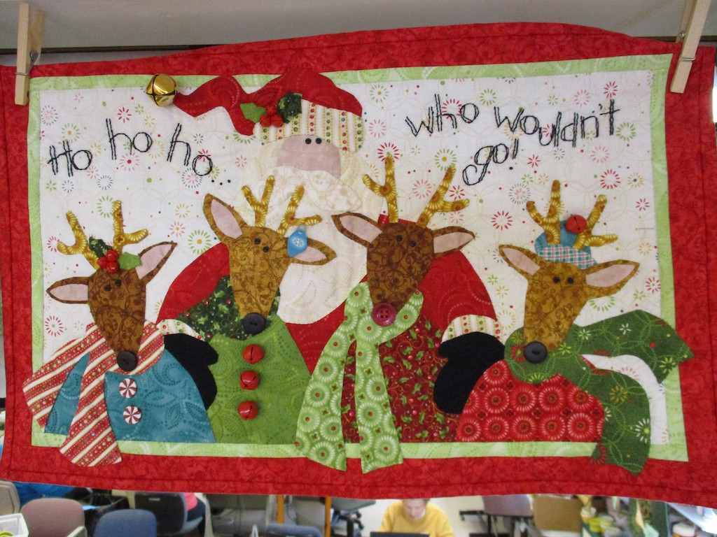 276, HOHOHO (signed and dated), 15x23, Pieced and Appliqued by Monna Gayman, Quilted by Fannie Frey, Embroidered by Deb Wingerd