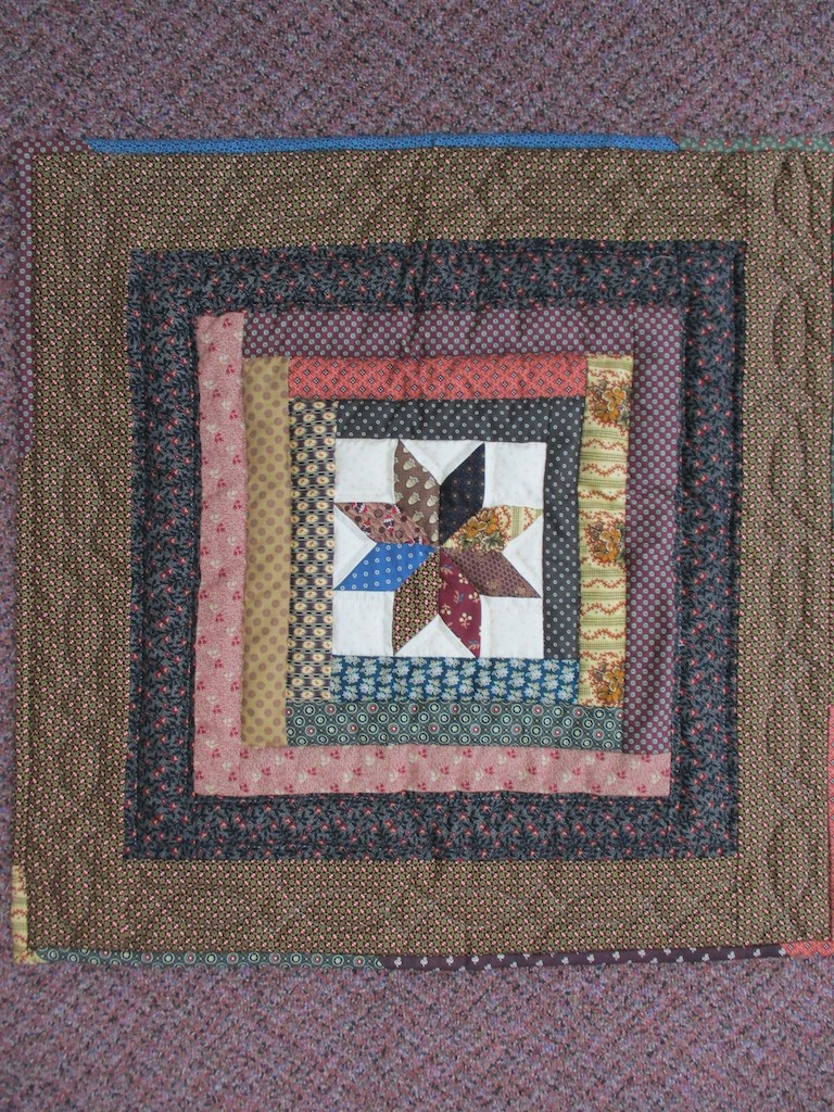 280, STAR LOG CABIN (signed and dated), 27x27, Quilted and Donated by Esther Martin