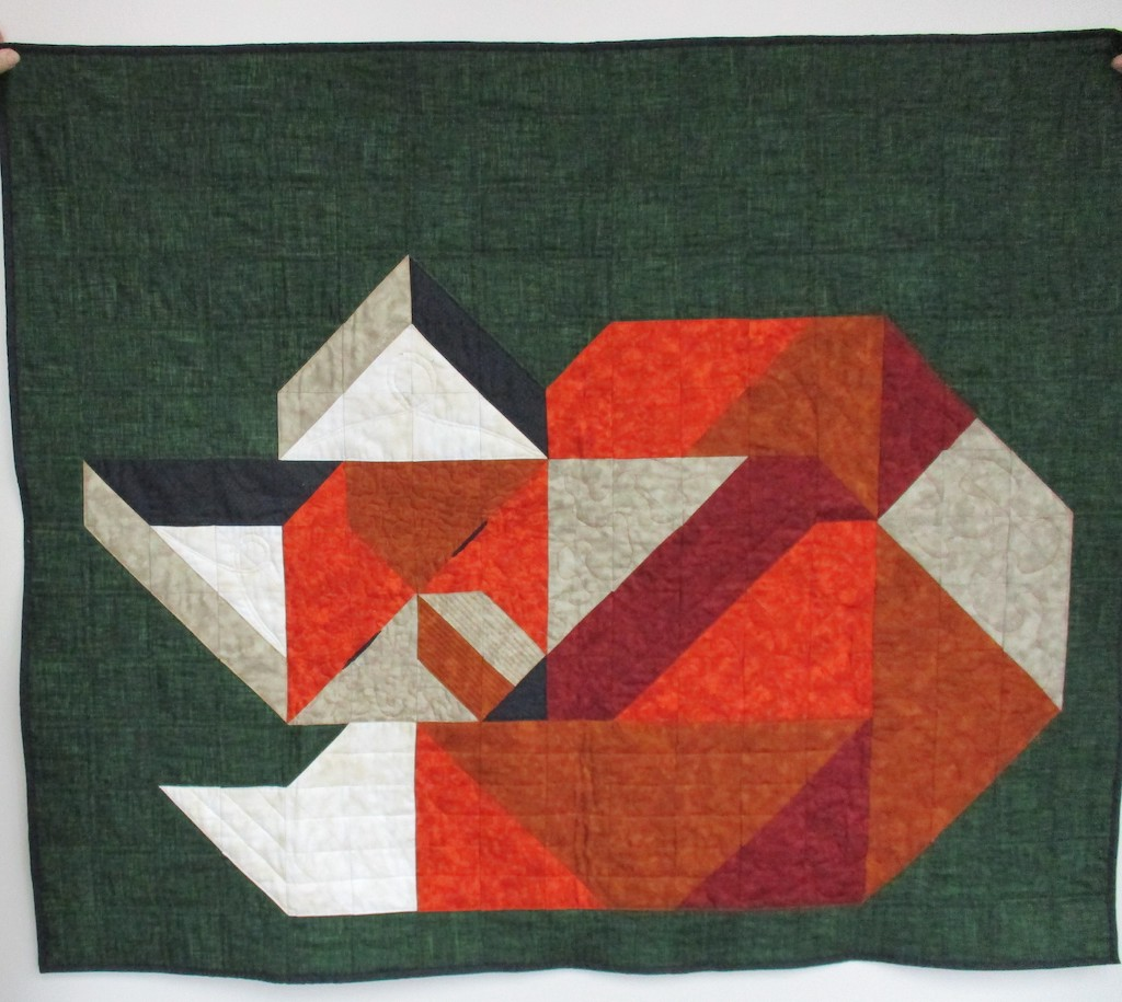297, SLEEPING FOX (machine quilted, signed and dated), 45x54, Designed, Quilted and Donated by Sharon Farley