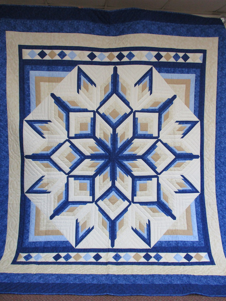 309, STARBURST LOG CABIN, 101x111, Quilted and Donated by Conestoga & Hopewell Sewing Circle