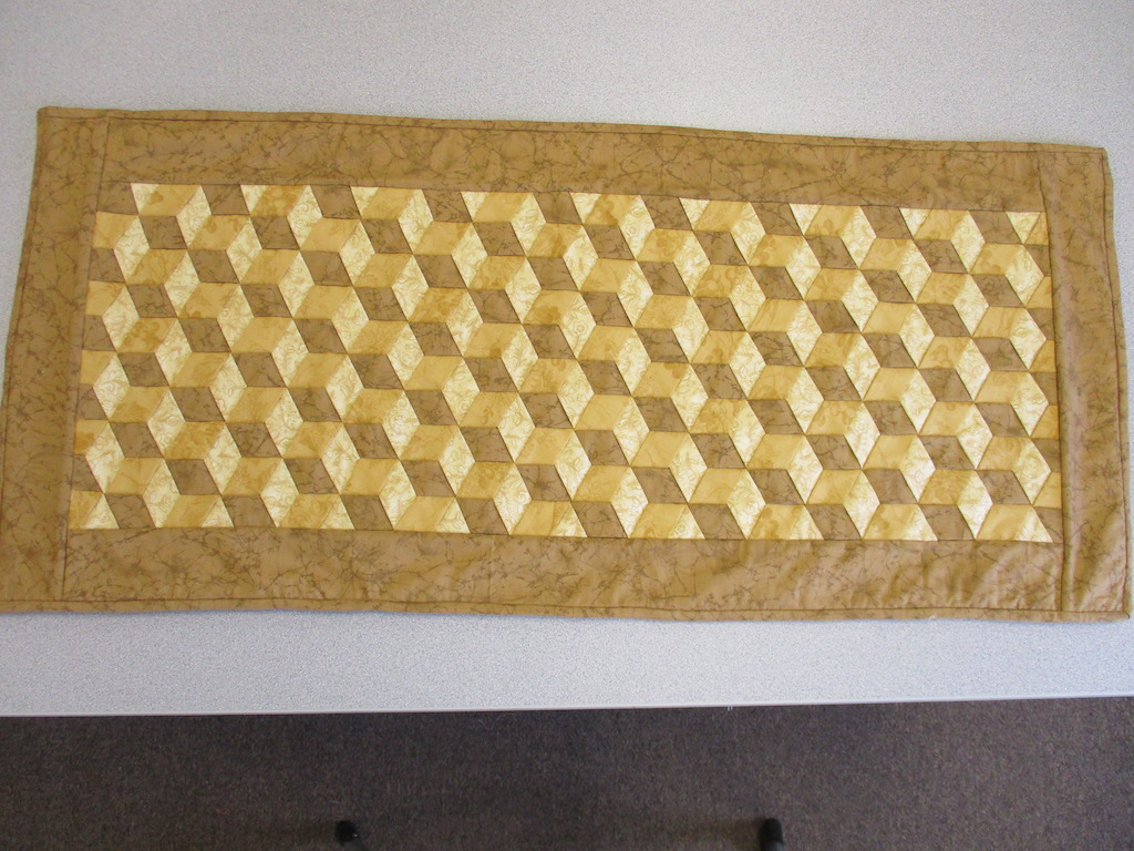352, WOVEN TABLE RUNNER (signed and dated), 18x40, Made by Janet Crider
