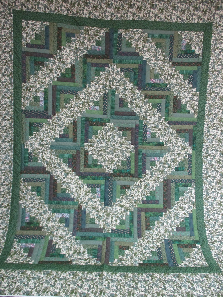 351, GREEN LOG CABIN, 90x112, Quilted and Donated by Locust Grove Mennonite Church Ladies' Sewing Circle