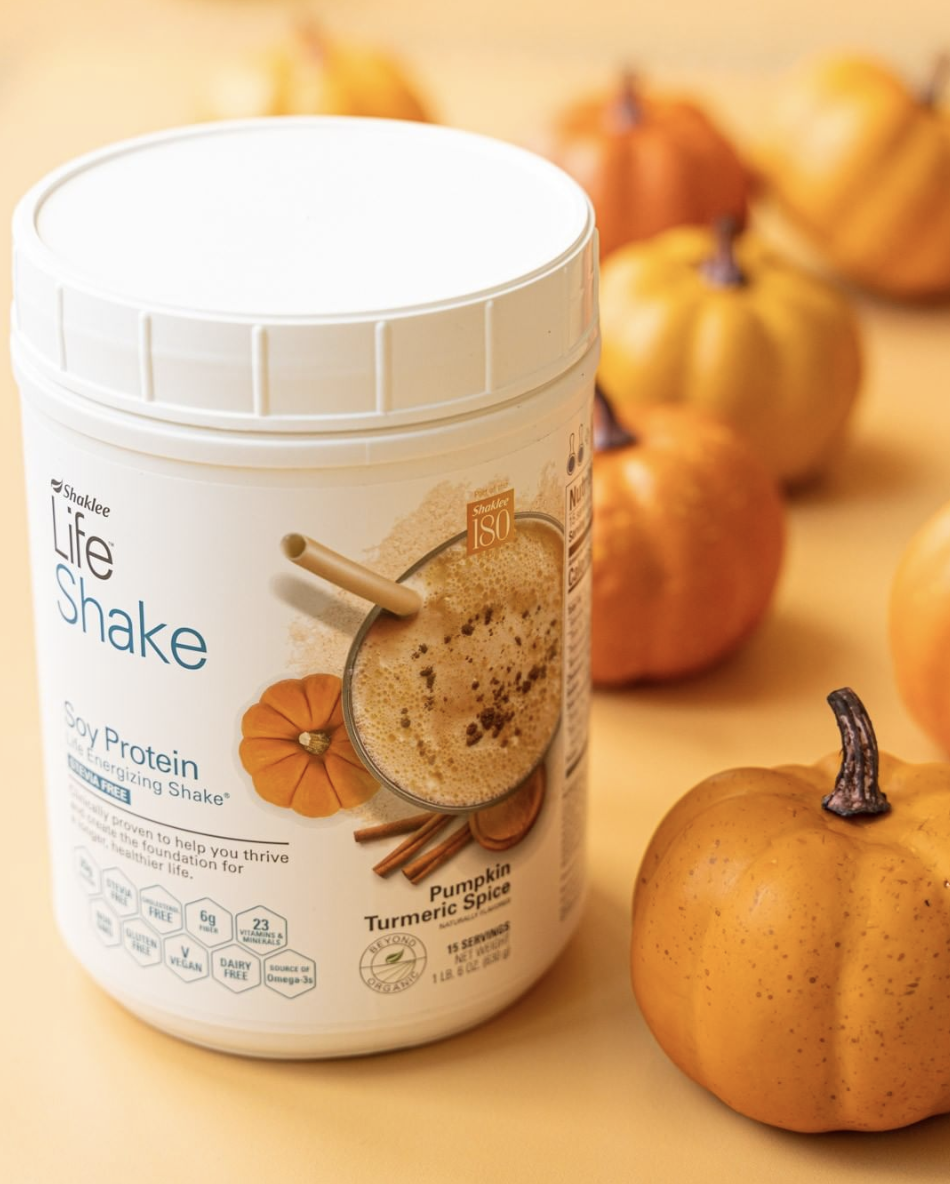 Embracing theFall Trends! - So you've all heard how much I love my Cafe Latte Shaklee shakes, but have you heard me talk about my new fav thing! One scoop of Cafe Latte & one scoop of Pumpkin Turmeric Spice and you have yourself a delicious Pumpkin Spice Latte Smoothie! Also, baking with the Pumpkin Turmeric Spice Protein is a game changer! Hurry up, this one sells out fast.