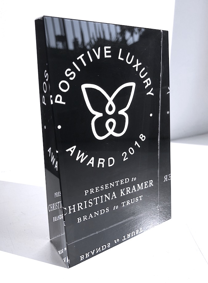 POSITIVE LUXURY AWARD - CHRISTINA KRÄMER HAS BEEN AWARDED THE BUTTERFLY MARK FOR THEIR MEASURABLE IMPACT AND COMPANY-WIDE COMMITMENTS TO SUSTAINABILITY.WE ARE SUPPORTER OF THE BUTTERFLY MARK, POWERED BY Positive Luxury.Want to learn more? Click on the interactive Butterfly Mark further down on your left and scroll through each Positive Action to read a short description of the brands efforts and achievements as verified by Positive Luxury.