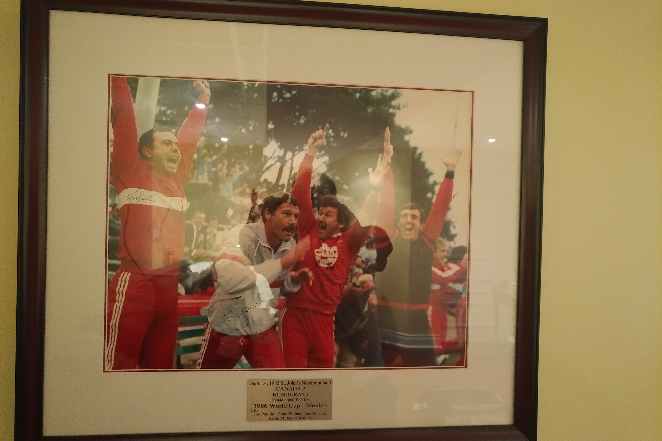 Infamous Photo of when whistle blew in St. John's Newfoundland as Canada beat Honduras 2-1 to qualify for the 1986 World Cup in Mexico. (Left to right) Joe Parolini, Tony Waiters, Les Wilson, & Kevin Muldoon