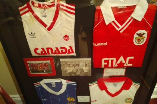Original jerseys from 1986 World Cup, Mexico. Joe's original jersey along with Russia, France & Hungary