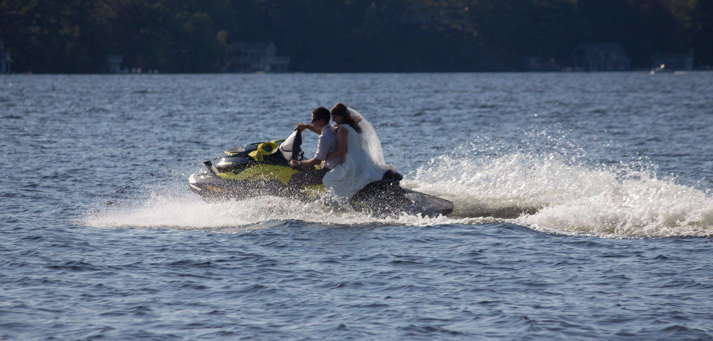 Raynor and his wife Madison. Post ceremony Sea-Doo, September 2017, Lake Muskoka