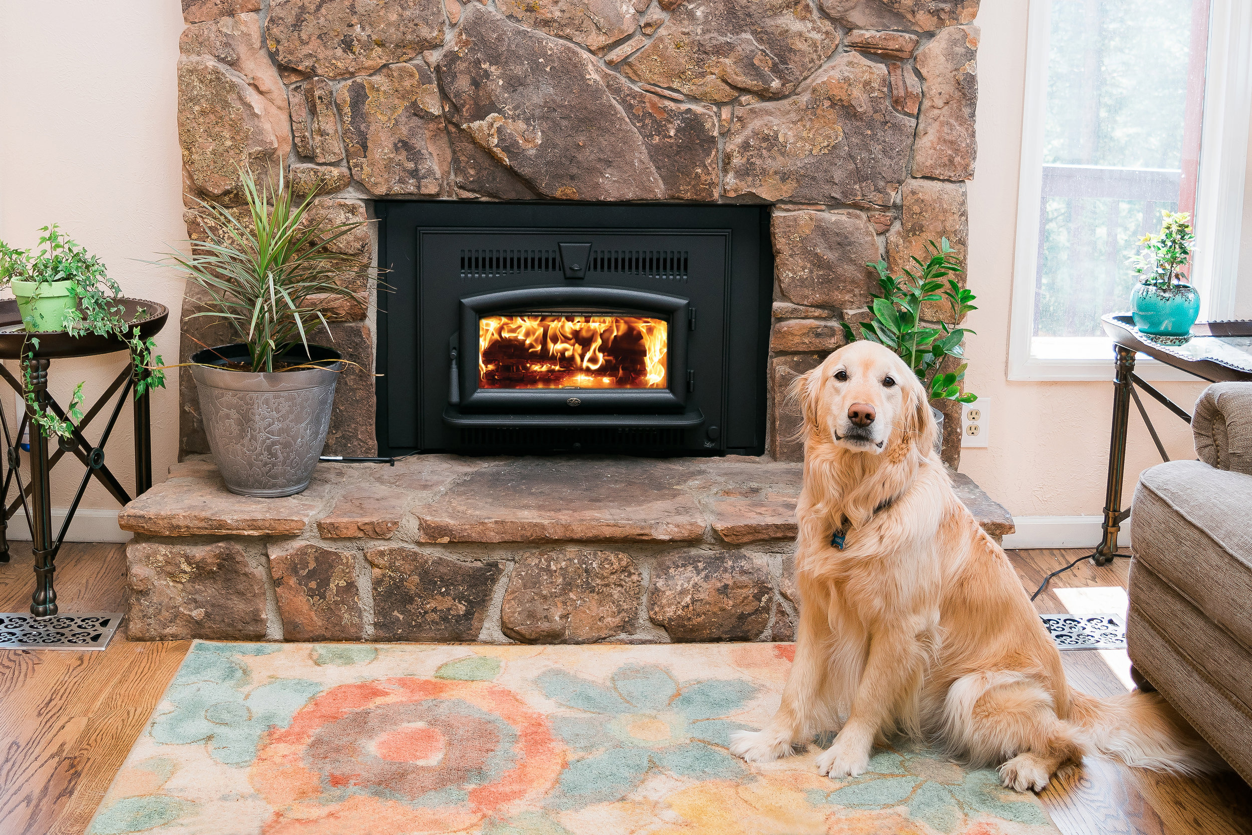 Lopi Small Flush Hybrid-Fyre wood burning insert in a home in Evergreen, CO