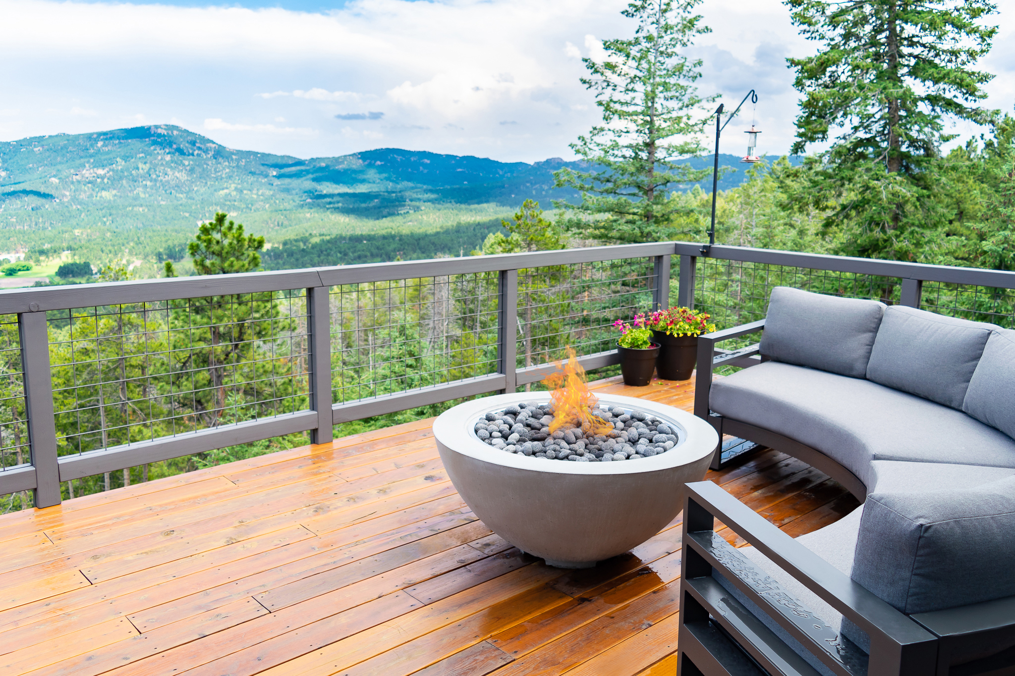 A gas fire pit with a great view in Evergreen