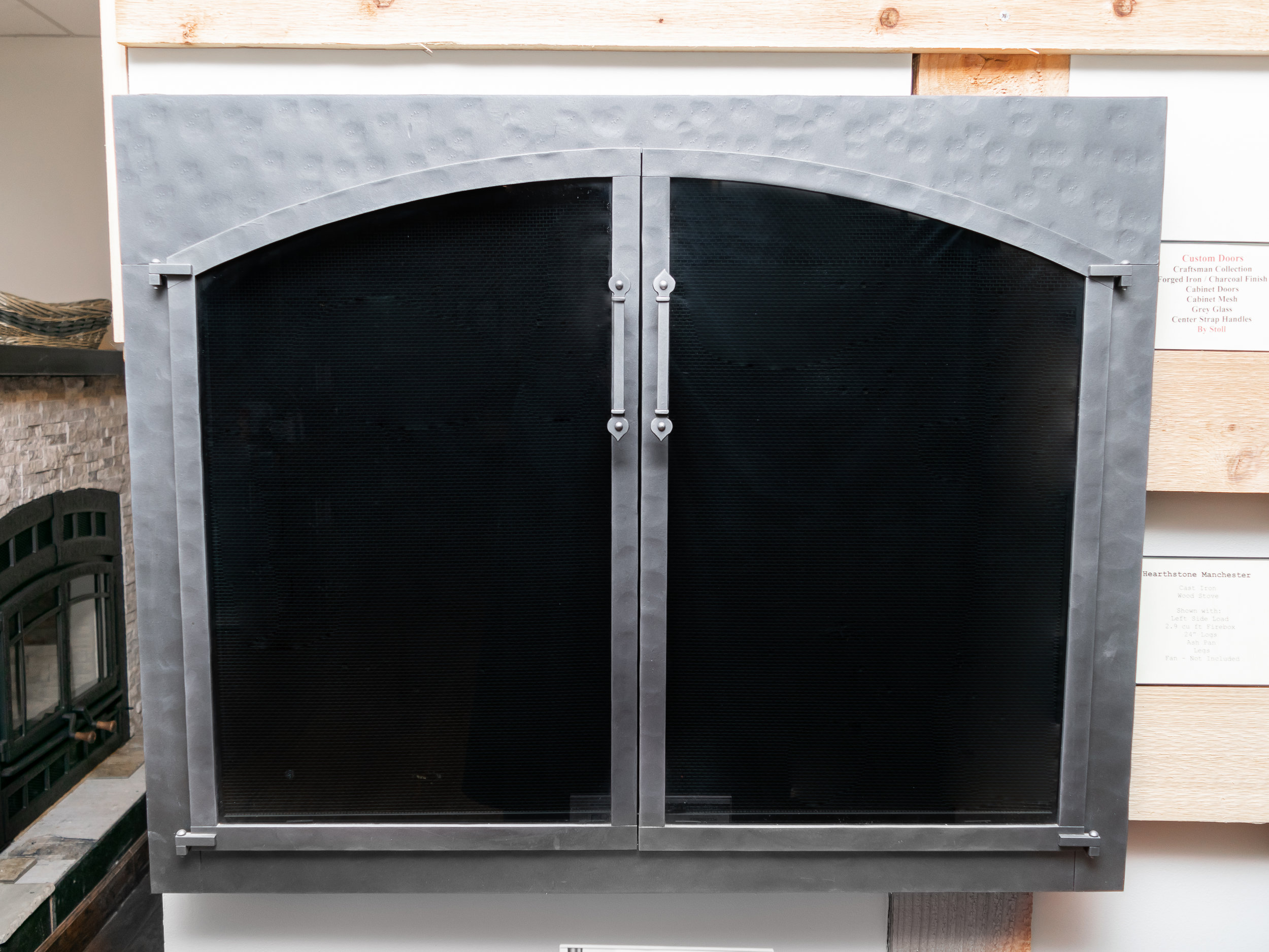 Stoll Double Doors - ‧ Custom sized and fabricated‧ Forged Iron texture‧ Charcoal finish‧ Grey Glass