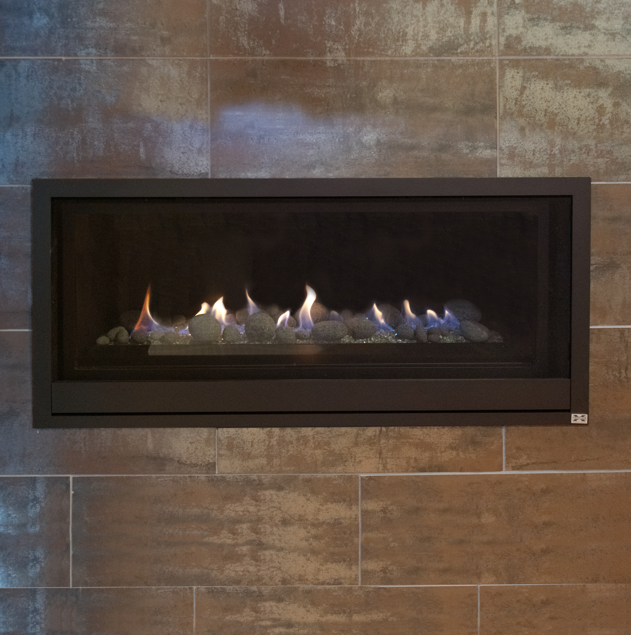 FireplaceX Pro-Builder 42 - ‧ Direct Vent Gas Fireplace - 25,000 BTU‧ Standing Pilot Millivolt‧ Platinum Glass Burner Media‧ Decorative Tumbled Stones· Flush to Wall Design‧ Operates in a Power Outage‧ Trendy Linear Style