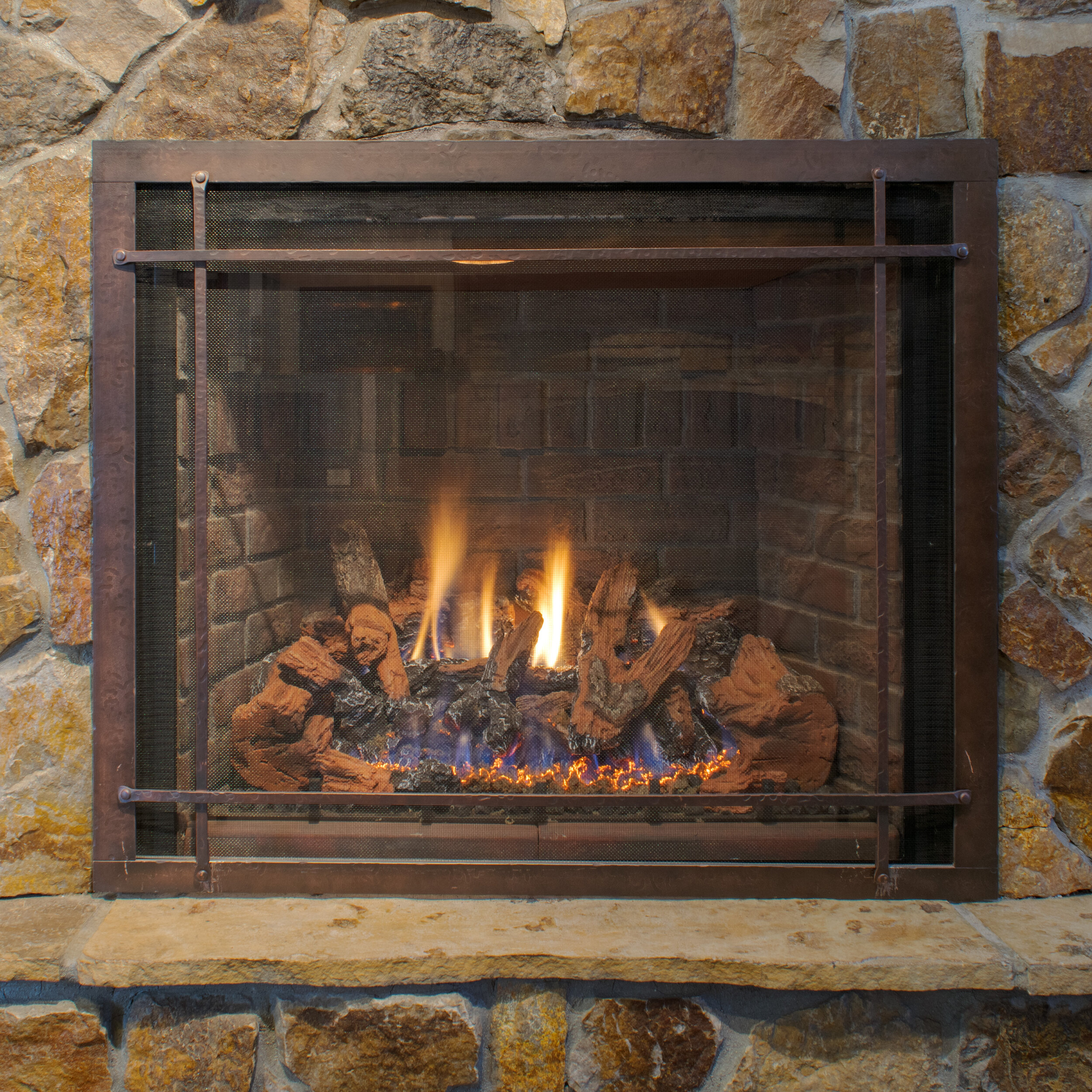 Mendota FV46 - ‧ Direct Vent Gas Fireplace - 45,000 BTU‧ Red Soldier Course Brick Firebox Panels‧ Grace Wide Front W/ Accent Bars - Hammered Leather‧ Norway Spruce Logs‧ Proflame2 Full Function Remote Control‧ Fan‧ Superior Quality‧ Largest viewing area‧ Terrific heater‧ Large selection of Fronts – Colors