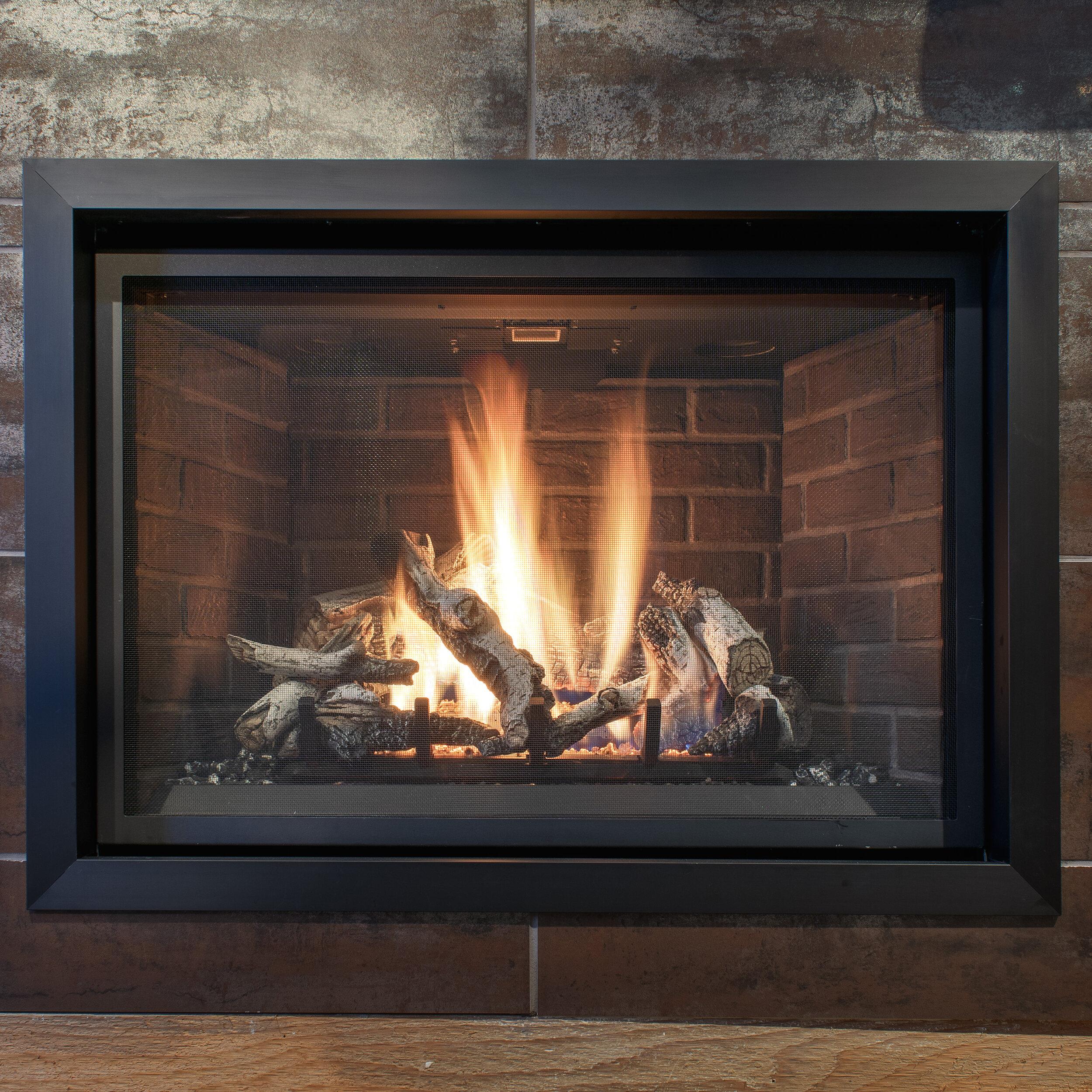 FireplaceX 864 Clean Face - · Direct Vent Gas Fireplace - 31,000 BTU· Handmade Brick Firebox Panels· Tile Trim Kit· Birch Logs with Embers· Green Smart Remote Control· Dual Convection Fans· Powerful Heater· Split-Flow Dancing-Fyre™ Burner