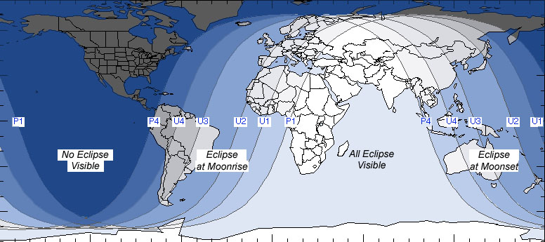 A map of where the central lunar eclipse will be visible. (Source:  Sky and Telescope )