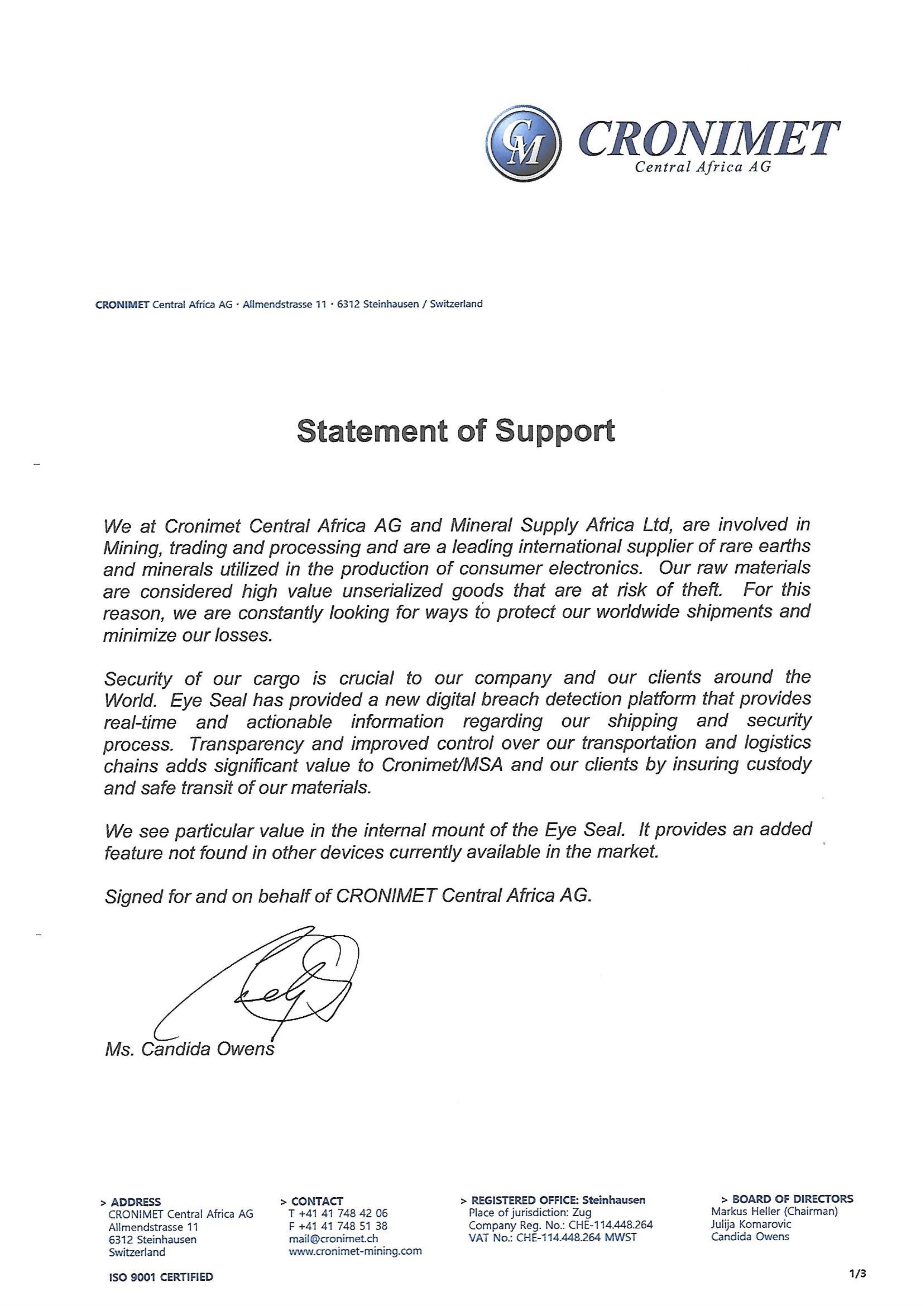 Statement of Support by Cronimet