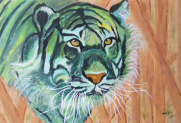 Timmy the Tiger - £200.  Acrylic (Framed) - 76cm x 51cm