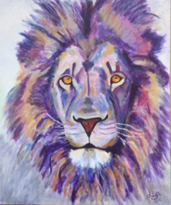 Leo the Lion - £200.  Acrylic (Framed) - 50.5cm x 60.5cm -  Card Available on Esty