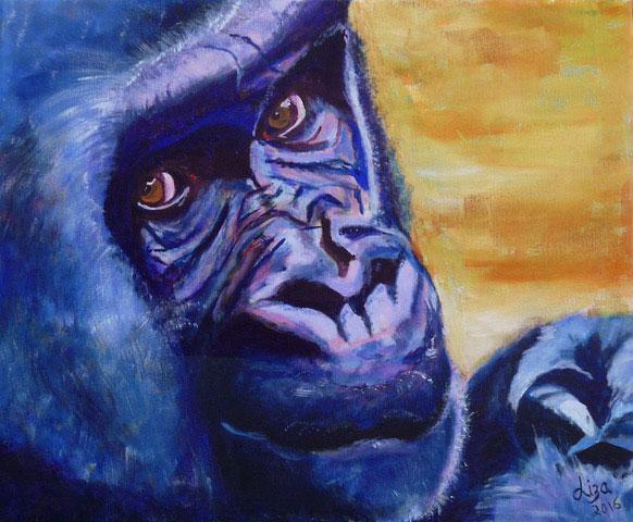 Gary the Gorilla - £200  Acrylic (Framed) - 63cm x 53cm. -  Card Available on Esty