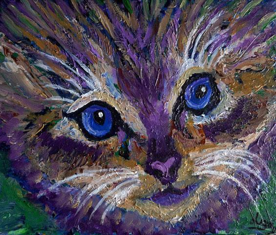 Cat's Eyes - £80.  Acrylic - 30cm x 25cm -  Card Available on Esty