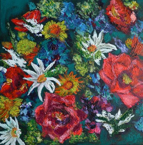 Floral - £60.  Acrylic - 30cm x 30cm - Card Available on Esty