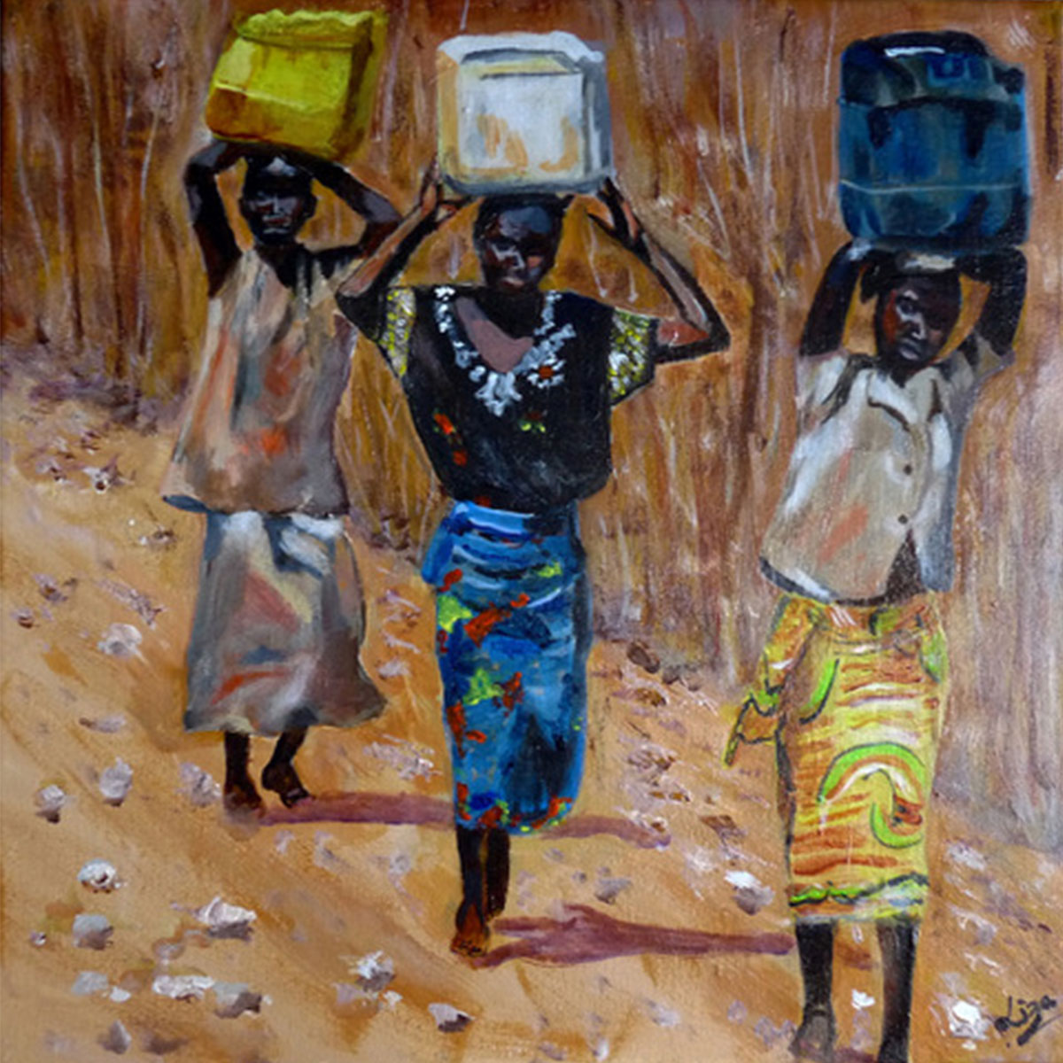 Carrying Water in Malawi - £120.  Acrylic - 42.5cm x 42.5cm -  Card Available on Esty