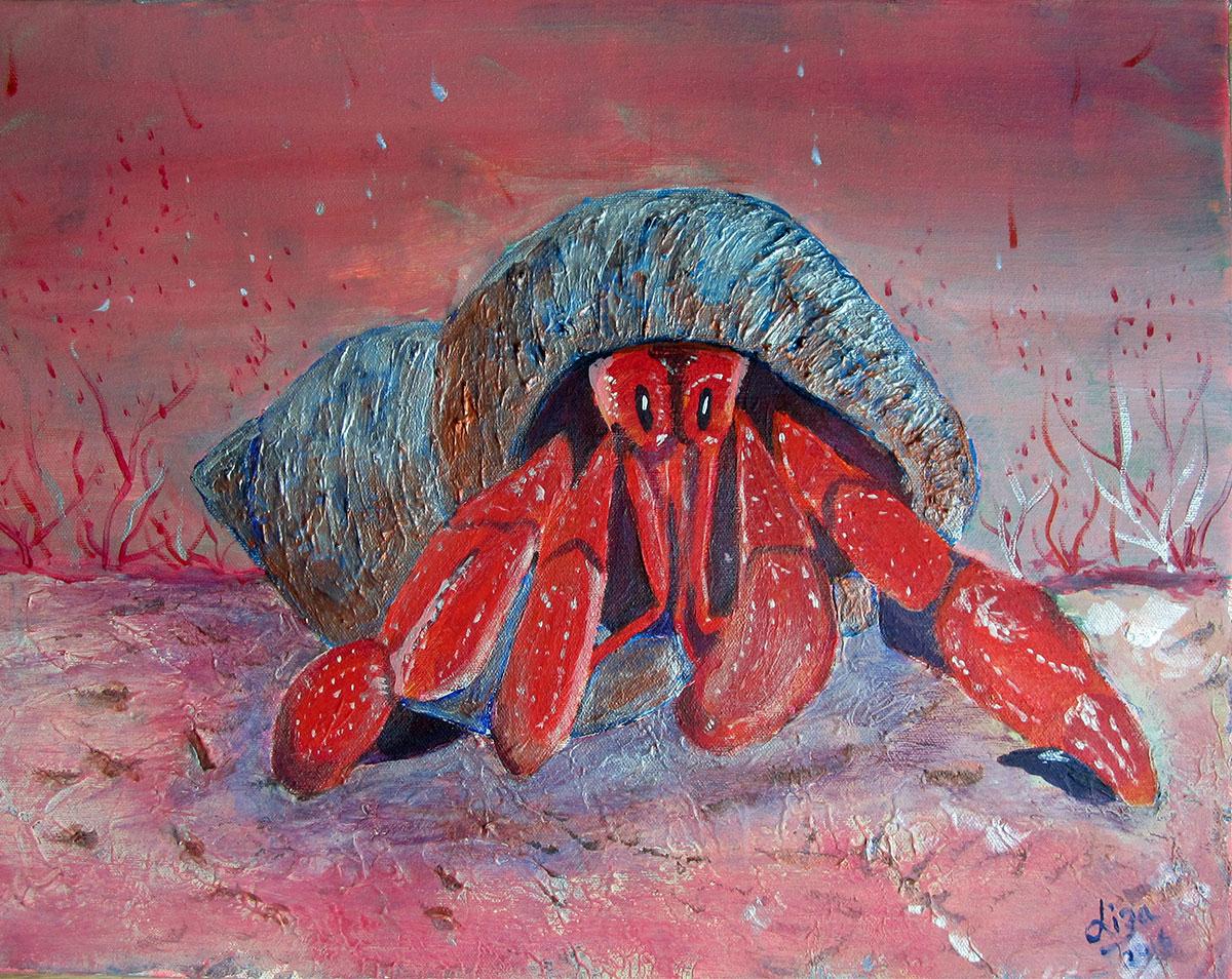 Herbie the Hermit - £120.  Acrylic (Framed) - 45cm x 35cm