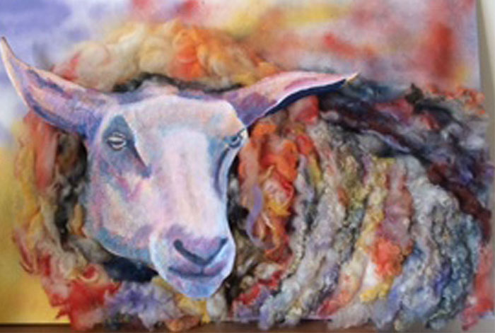 Sheep in Sheep's Clothing - £250.  75cm x 49.5cm Background actual sheep's fleece