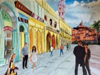 Cuba - £120.  Watercolour Montage (Framed) - 49cm x 38cm