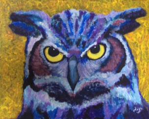 Ollie Owl - £150.  Acrylic (Framed) - 52cm x 41cm