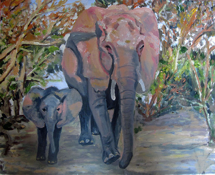 Elephant & Baby at Dawn - £100  Acrylic (Framed) - 53cm x 43cm