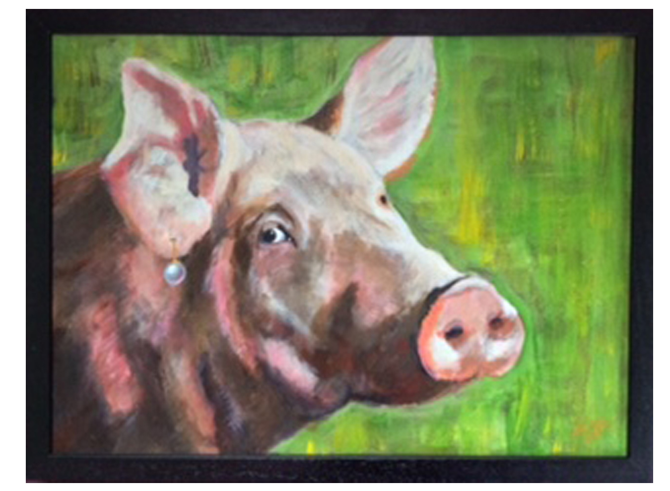 Pig with a Pearl Earring  Acrylic SOLD