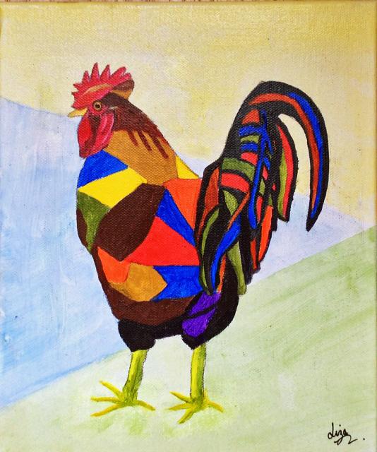Cockerel 2 £55  Acrylic 25cms x 30cms