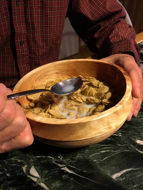 Birch breakfast bowl in action, 2015.