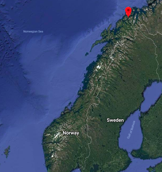 Location of Tromsø, Norway.