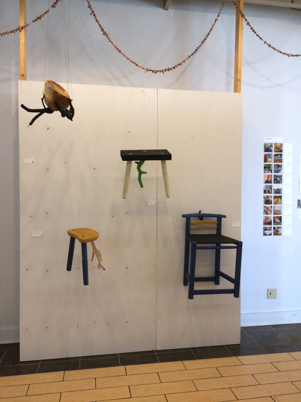 Hanging Burl, Stools & Chair