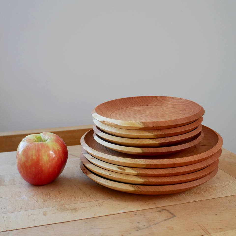 A stack of cherry plates with the sapwood lined up.