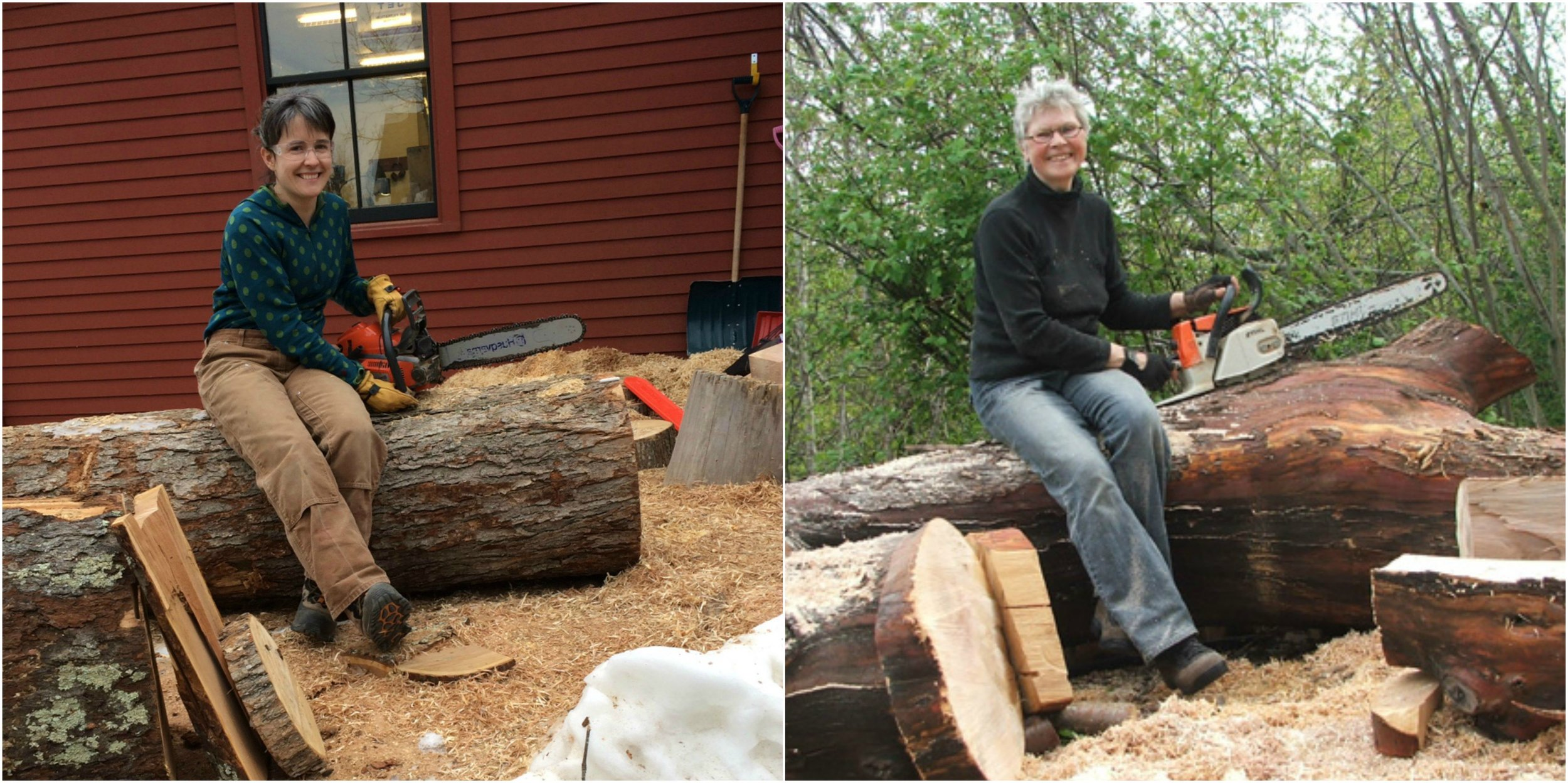 "Last but not least: Thank you this cherry log and thank you to my mentors! Last year I saw the photo on the right of artist  Helga Winter  and told a friend - ""I want to be like her when I grow up!"" Joyful and wielding a chainsaw. My friend replied ""I think you are well on your way."" Here is a fan photo I took before processing those logs! So grateful to have gotten to study with her and to have her as a possibility model."