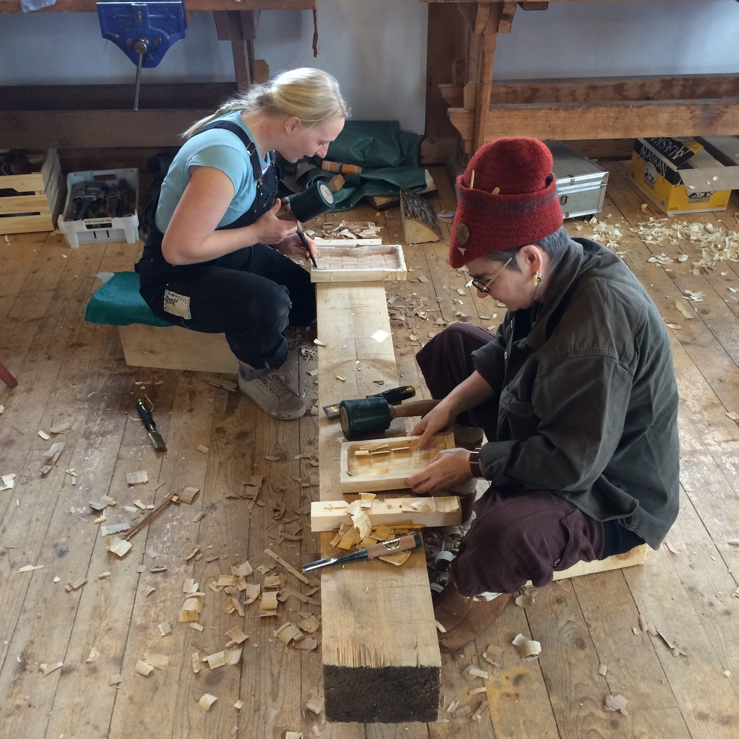 Lifelong learners (& teachers) Rose Holdorf & Liesl Chatman carving away.