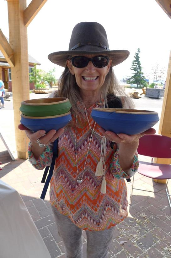 Woodenware and traditional crafts enthusiast, Mary Anderson, with some of my birch ale bowls!