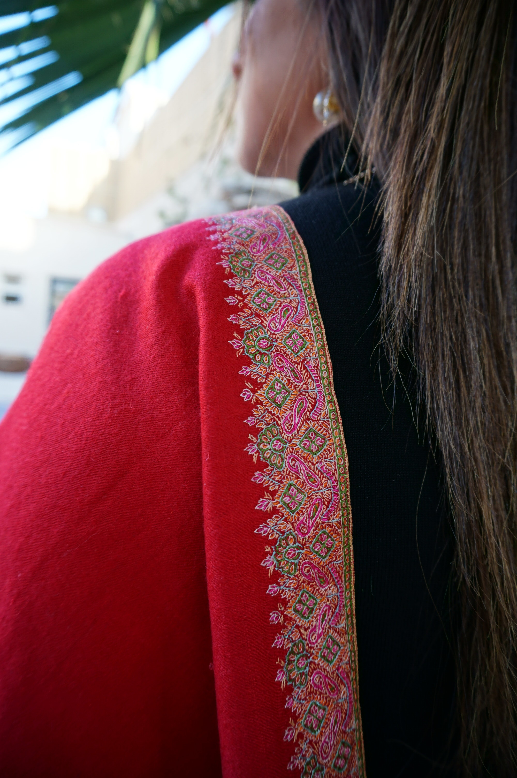 Crimson Red Pashmina with 1 inch of intricate handmade embroidery all along the borders.
